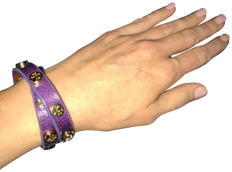 f74973e23c9cb Tory Burch Purple Leather Wrap Bracelet - Tradesy