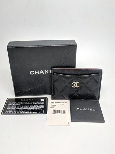Chanel Chanel Black Lambskin Quilted Classic Card Holder with Silver Hardware