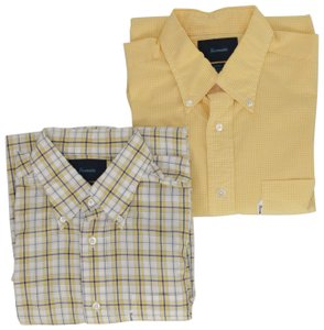Façonnable Boyfriend Classic Gingham Plaid Button Down Shirt Yellow