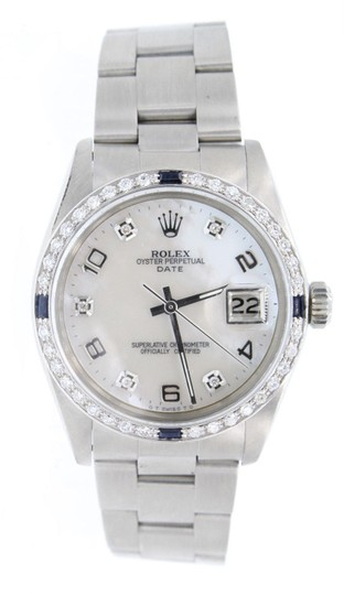 Rolex Rolex Mens Oyster Perpetual DIAMOND DATE Steel 34mm Mother-of-Pearl