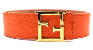 Fendi Fendi FF gold leather Reversible Belt Size 90 36