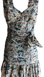 French Connection short dress white and blue flower on Tradesy