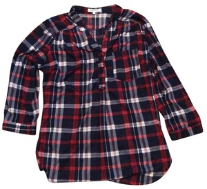 Wishful Park Button Down Shirt Red, White, and Blue Plaid