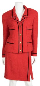 Chanel CHANEL Red Boucle Skirt Suit Sz 44