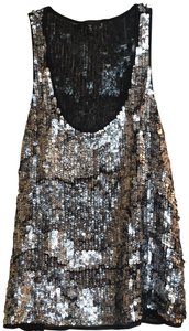 JOE'S Jeans Sequin Beaded Top Black and Silver