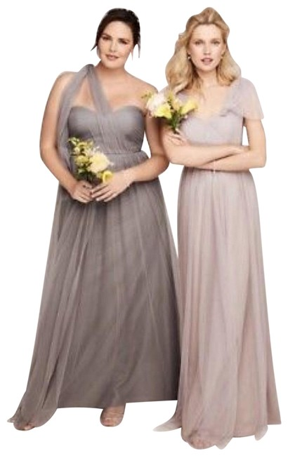 Item - Mink Grey Anabelle Tulle Convertible Bridesmaids Gown Long Formal Dress Size 10 (M)