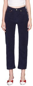 RE/DONE Corduroy Stove-pipe High Rise Straight Pants Navy