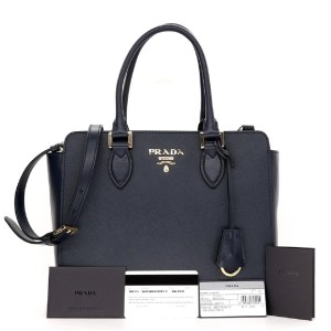 Prada Leather Designer Handbag Handbag Tote in navy