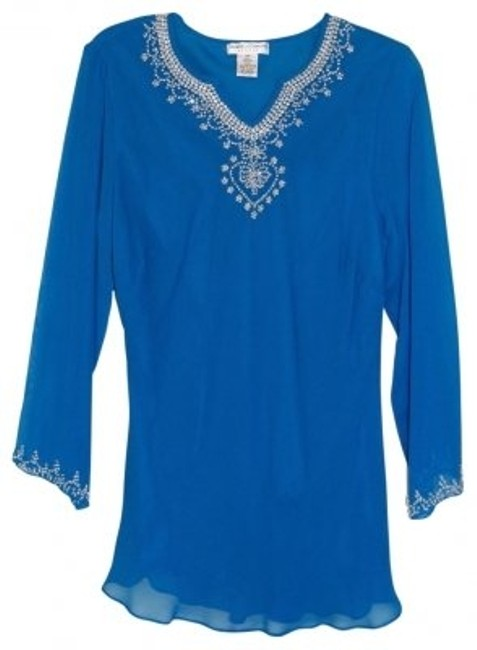 Preload https://item5.tradesy.com/images/draper-s-and-damon-s-turquoise-blue-long-sleeved-kurta-style-silk-tunic-size-petite-8-m-24464-0-0.jpg?width=400&height=650