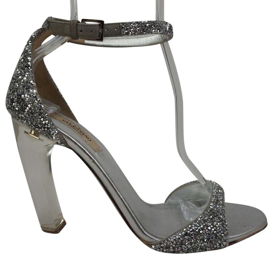 c4ff42f67d4 Valentino Silver Acrylic Glass Heel Crystal Encrusted Sandals Size ...