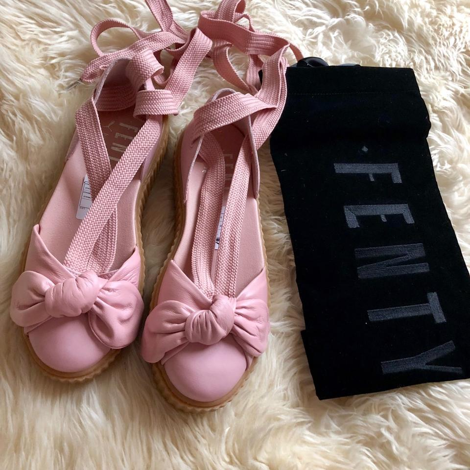 d80b954a1dce FENTY PUMA by Rihanna Pink Bow Leather Creeper Sandals Size US 8 ...