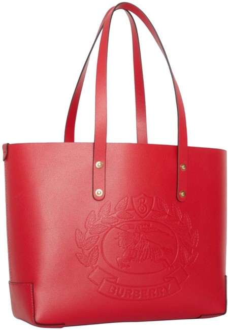Item - Small Embossed Crest Rust Red Calf Leather / Polyurethane Tote