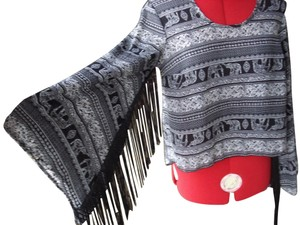 See You Monday Fringed Tribal Print Top Black and white