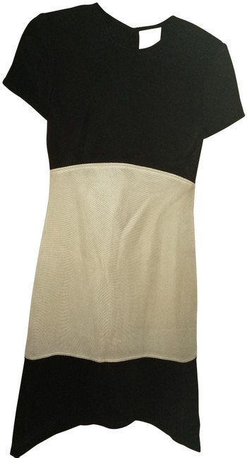 Item - Black White New Colorblock Assymetryc Sheath Mid-length Night Out Dress Size 4 (S)