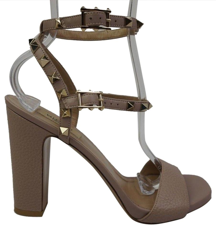 47ecdeaa90c6 Valentino Poudre Rockstud Ankle Strap Leather Women s Sandals Size ...