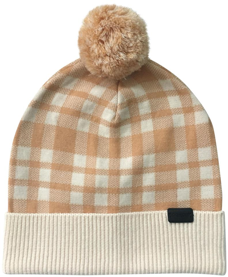 28339f1e58caa Coach Tan Plaid Pom Knit New with Tags. Hat - Tradesy
