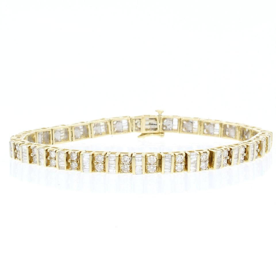 Las 14k Yellow Gold Round And Baguette Cut Diamond Tennis Bracelet 66 Off Retail