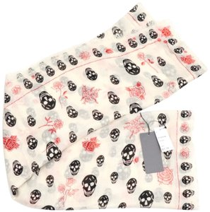 Alexander McQueen Skull and Roses Floral Print Pink Ivory Large Scarf