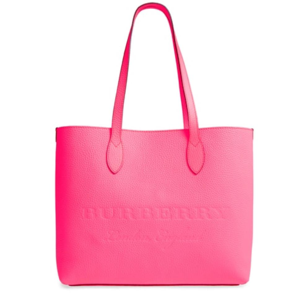 Burberry London Soft Leather Ble Large Remington Neon Pink Tote ... 30aacb8580560