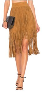 House of Harlow 1960 Suede Fringe Boho Western Skirt Tan