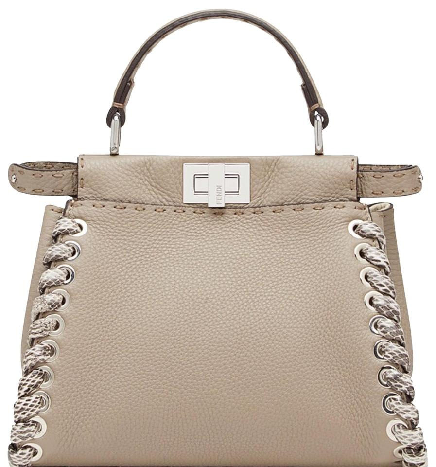 8a6669e06504 Fendi Peekaboo Mini Beige Composition 100% Calfskin Leather Colubro ...