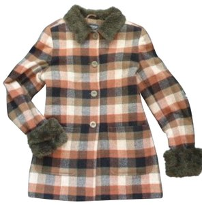 Rampage Faux Fur Wool Plaid Insulated Pea Coat