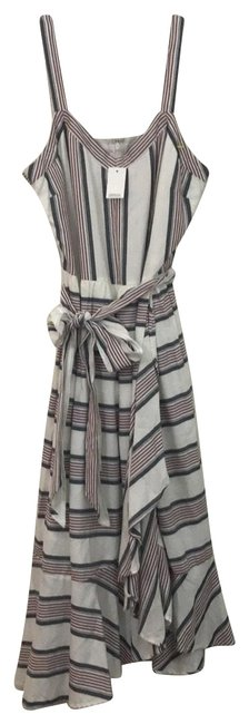 Item - White Red Blue Striped Ruffle Wrap Mid-length Short Casual Dress Size 2 (XS)
