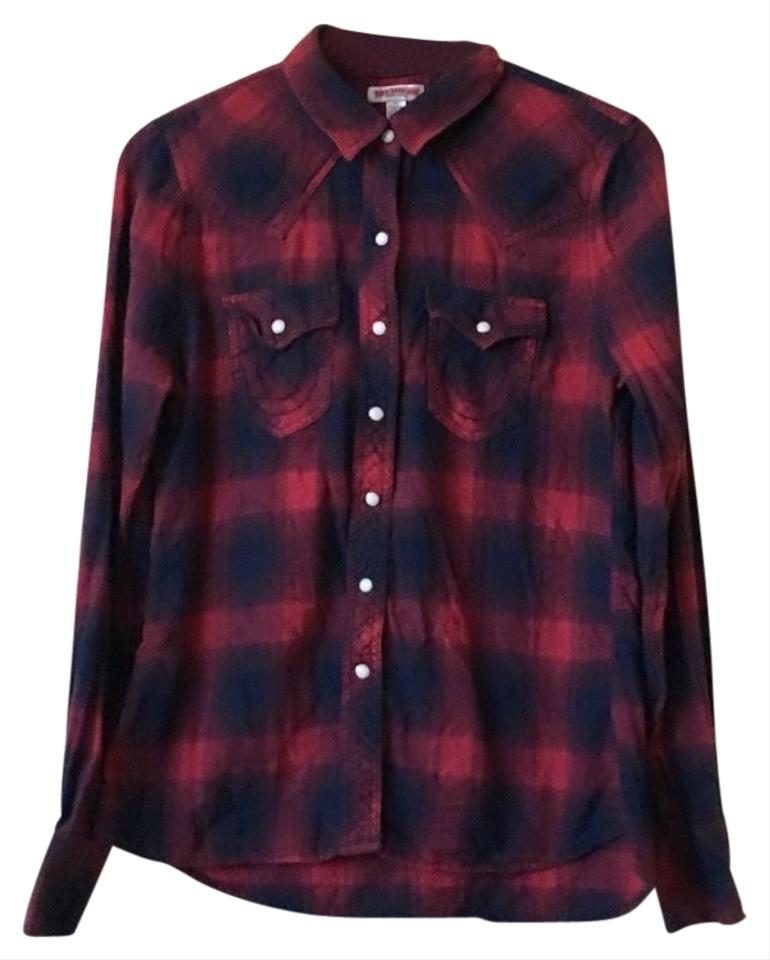 1efb09dd5 True Religion Red Blue The Western Shirt Button-down Top Size 4 (S ...
