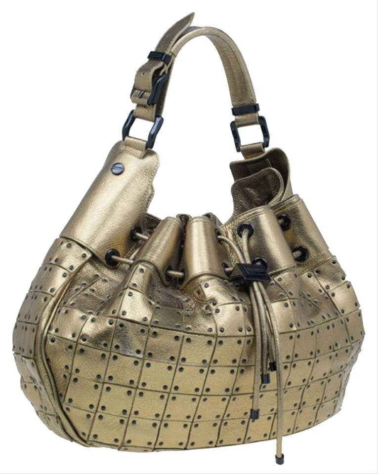 Burberry Prorsum Studded Warrior Gold Leather and Fabric Shoulder ... 5b2faf372f891