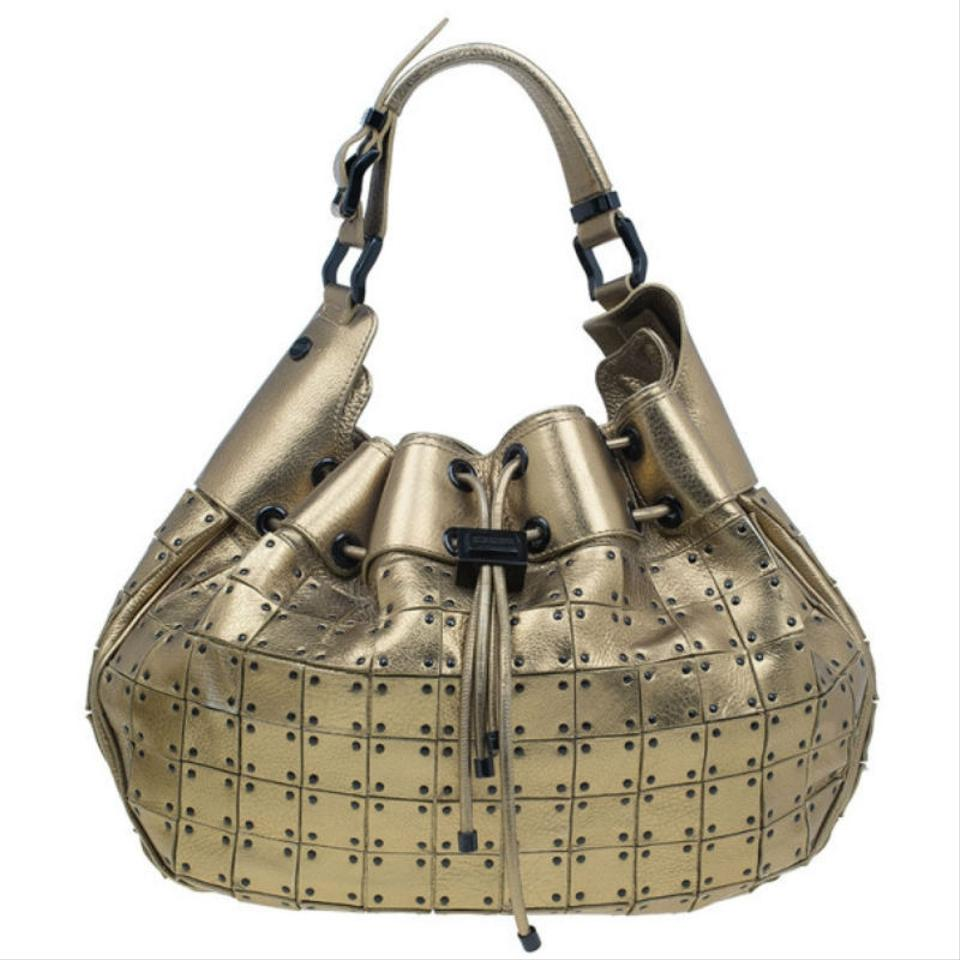 93fb5f6d4e02 Burberry Prorsum Studded Warrior Gold Leather and Fabric Shoulder Bag -  Tradesy