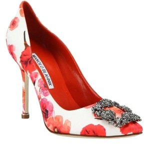 Manolo Blahnik red floral Pumps