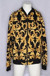Versace Multicolor Classic Baroque Mesh Lined Hoodie Shirt