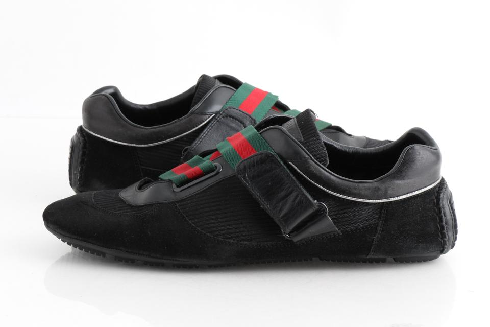 09e4a2dccb9 Gucci Black With Green and Red Web Trainers with Vecro Straps Shoes Image 0  ...