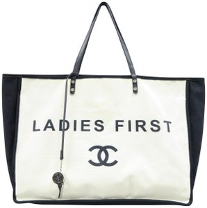 Chanel Ladies First Canvas Tote in White&Black