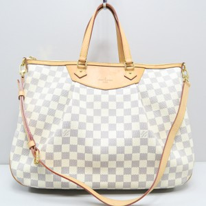 Louis Vuitton Lv Siracusa Gm Azur Canvas Satchel in White