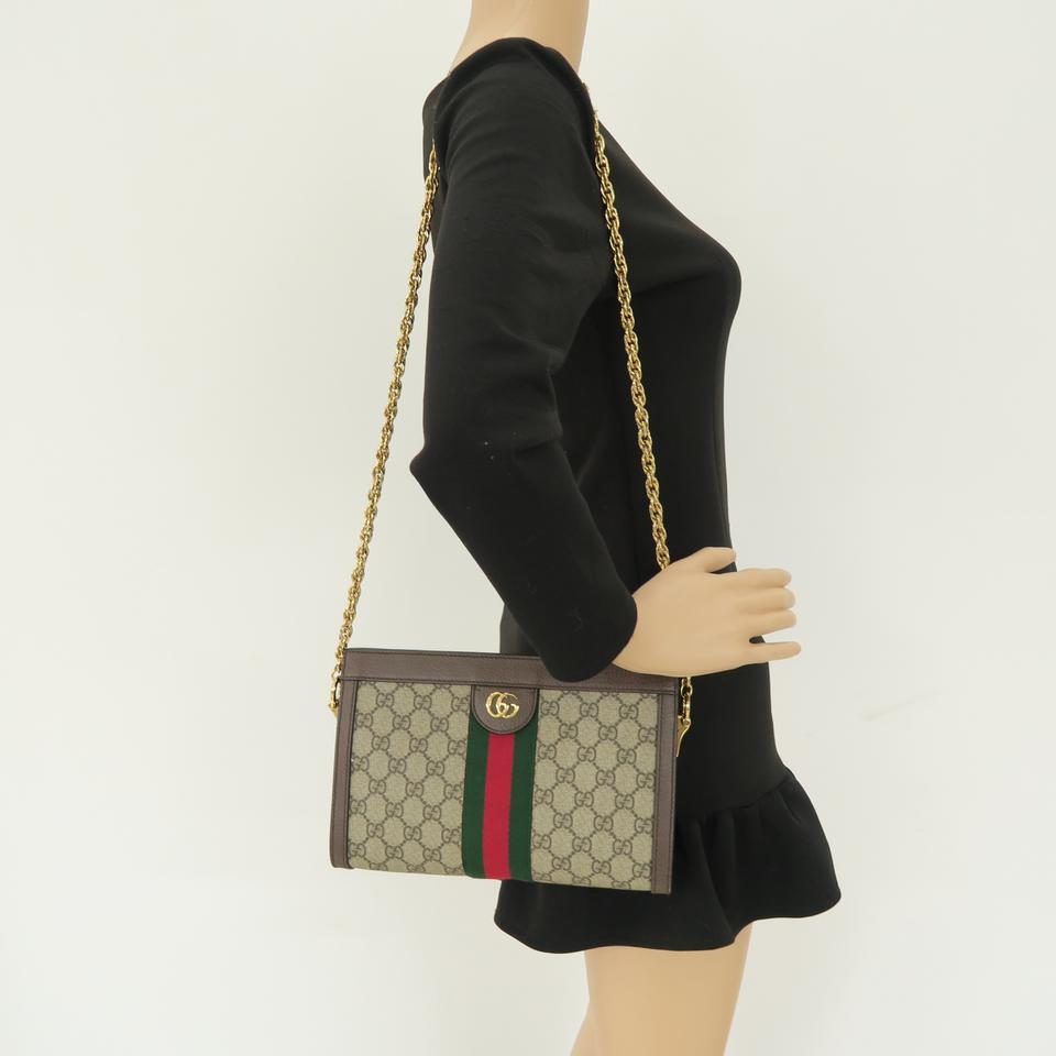 aac88c808831 Gucci 2018 Small Gg Supreme Ophidia Brown Calfskin Leather Cross ...