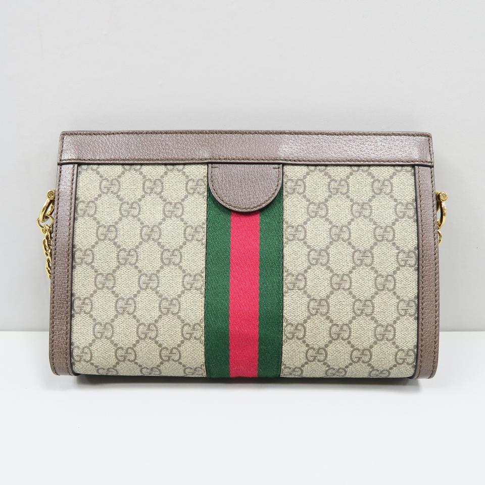1b2297a9607 Gucci 2018 Small Gg Supreme Ophidia Brown Calfskin Leather Cross Body Grey  Canvas Shoulder Bag - Tradesy