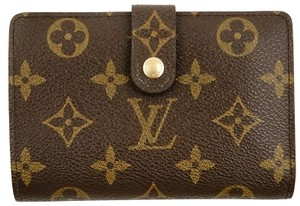 Louis Vuitton Monogram Canvas Leather French Compact Clutch Snap Wallet