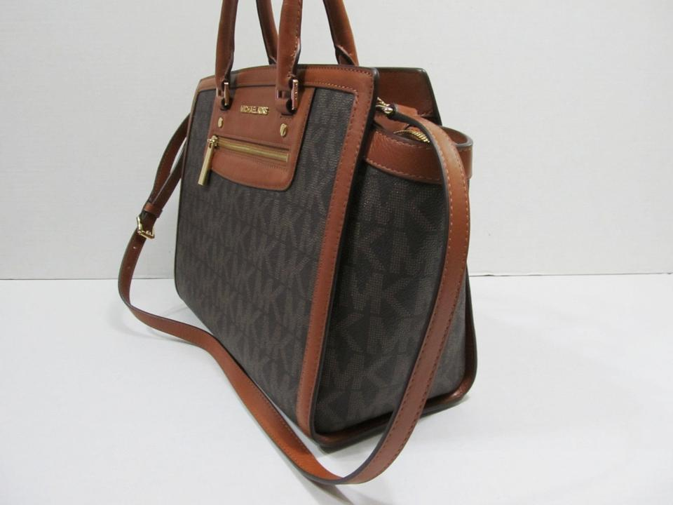 76e73e96de2b12 Michael Kors Selma Large Monogram Logo Top Tote Brown Signature Pvc and  Leather Satchel - Tradesy
