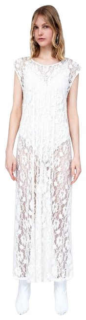 Item - White Ivory Lace Pleated Long Casual Maxi Dress Size 4 (S)