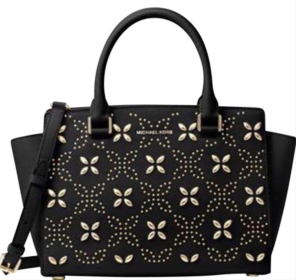 129952792b11 Michael Kors Selma Medium Floral Studded Flowers Convertible Tote Black  Gold Saffiano Leather Satchel