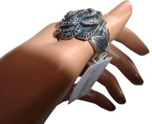 King Baby King Baby Rose Sterling Silver 925 Ring with Pave Black CZ Size 7 NWT