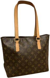 Louis Vuitton Cabas Messo Leather Monogram Tote in Brown