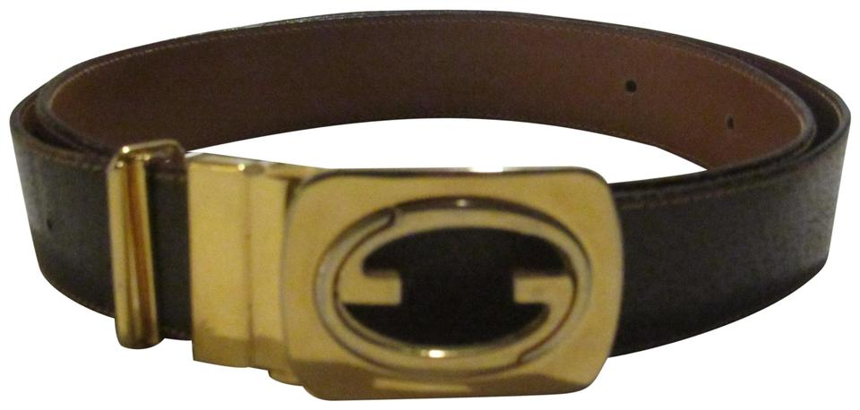 73b54014e2f Gucci Brown Leather with Gold Gg Logo Buckle Vintage Belt Designer ...
