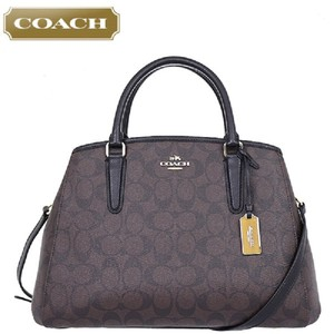 Coach Margot Carryall Gift Idea Crossbody Satchel in Black/Dark Brown/Gold