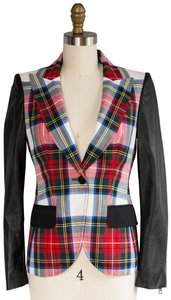 Moschino Size Small Cheap Chic Plaid Wool and Black Leather Blazer