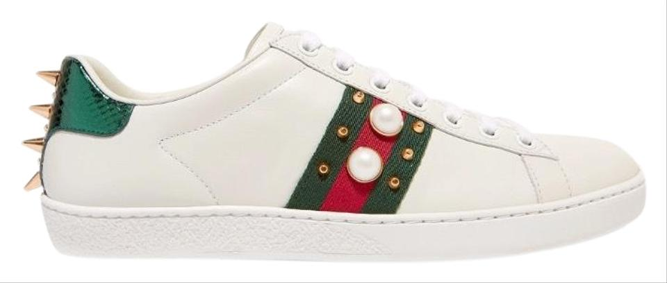 01083a536a3 Gucci Ace Spike and Pearl Embellished Leather Sneakers Sneakers Size ...