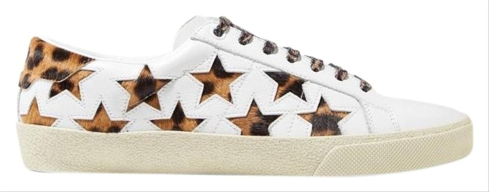 2e5af9ef9f8 Saint Laurent Court Classic Leopard Calf Hair Star Leather Sneakers ...