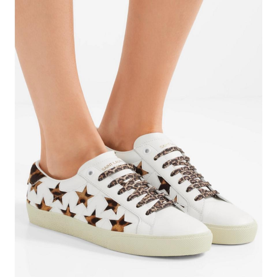 88435c0d742 Saint Laurent Court Classic Leopard Calf Hair Star Leather Sneakers Size US  6 Regular (M, B) - Tradesy