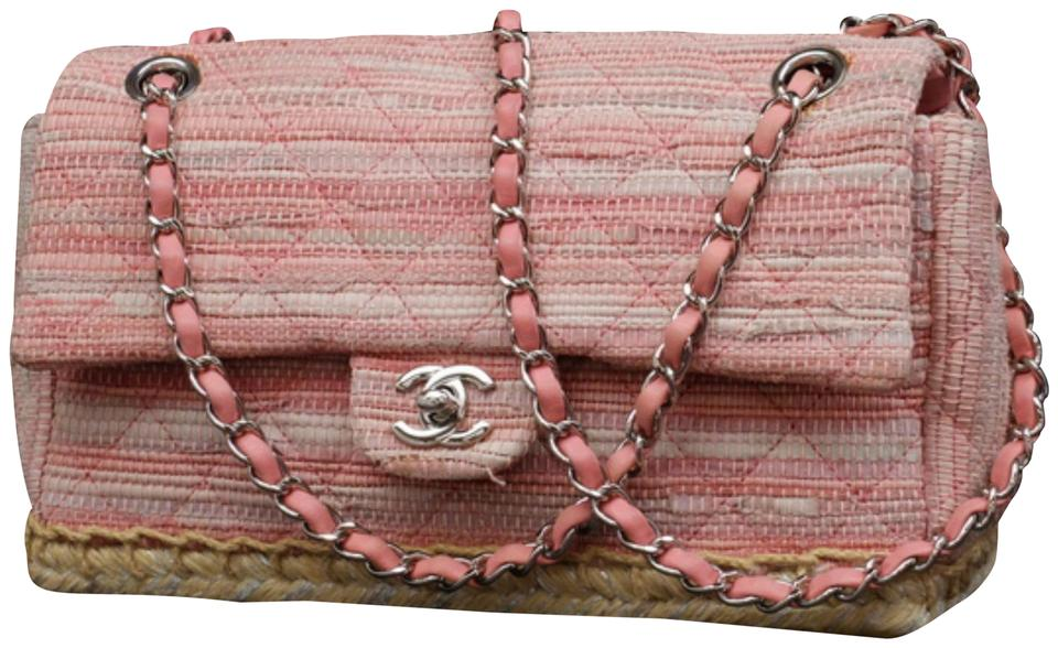 a9fd37dffdd8 Chanel Classic Flap Quilted Espadrille Medium 233088 Pink Tweed ...